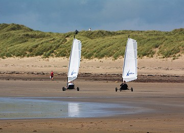 2 Sand yachters on Cymyran beach near Rhosneigr