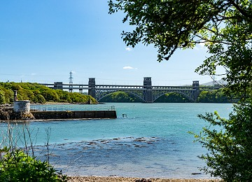 The Britannia bridge from the shores of Pwllfanogl