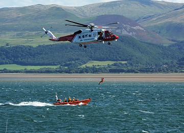 Beaumaris Lifeboat Day helicopter and Lifeboat rescue exercise