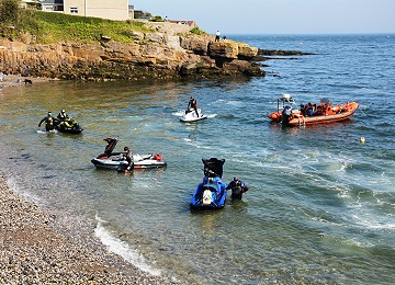 Jet Skis arrive at Moelfre South beach