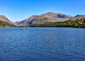 Paddleboarding on Llyn Padarn with Snowdon in background