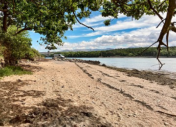 The beach at Pwllfanogl on the shores of the Menai Strait