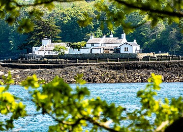 The beautiful Ynys Gorad Goch on the menai strait through the trees