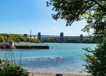 The Britannia bridge from the shores of Llanfairpwll