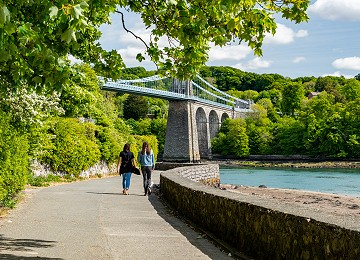 Stunning views of the Menai Suspension Bridge from the Belgian Promenade on Anglesey